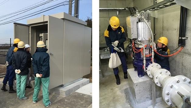 神戸市藤原配水場 マイクロ水力発電 電力会社立会検査