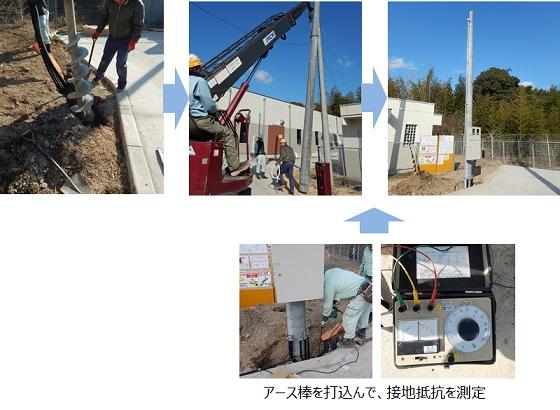 マイクロ水力発電工事にて構内電柱を立てる