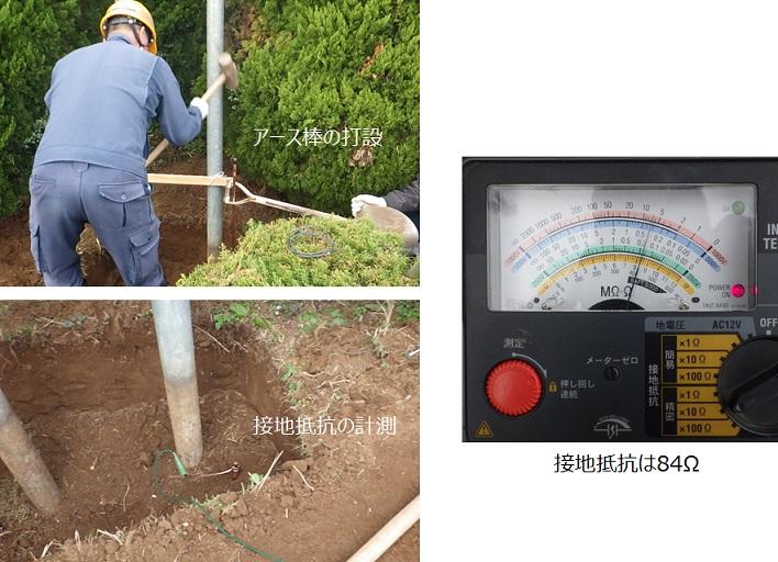 アース棒の打設と接地抵抗測定