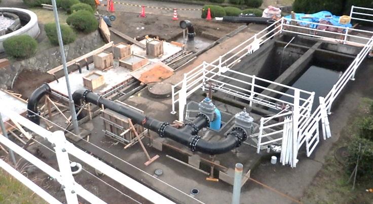 宮川浄水場マイクロ水力発電所工事状況