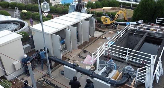 宮川浄水場マイクロ水力発電ー収納ボックス据付後