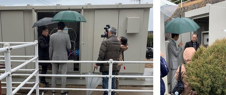 宮川浄水場マイクロ水力発電所を熱海市長が視察