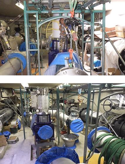 淡路調整槽マイクロ水力発電所での発電機取付