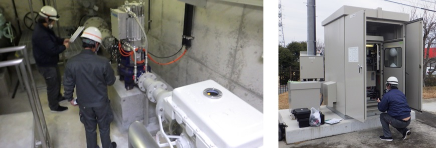 藤原配水場マイクロ水力発電システムと制御盤