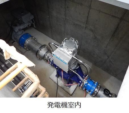 中台浄水場マイクロ水力発電所 発電機室内