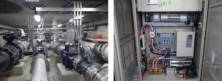 淡路調整池マイクロ水力発電所の結線完了