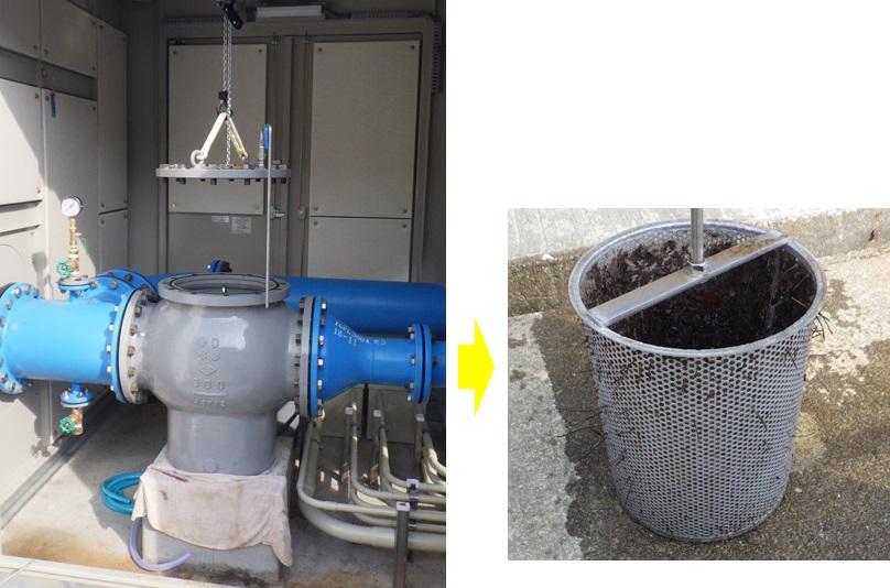 熱海市宮川浄水場マイクロ水力発電所のストレーナー