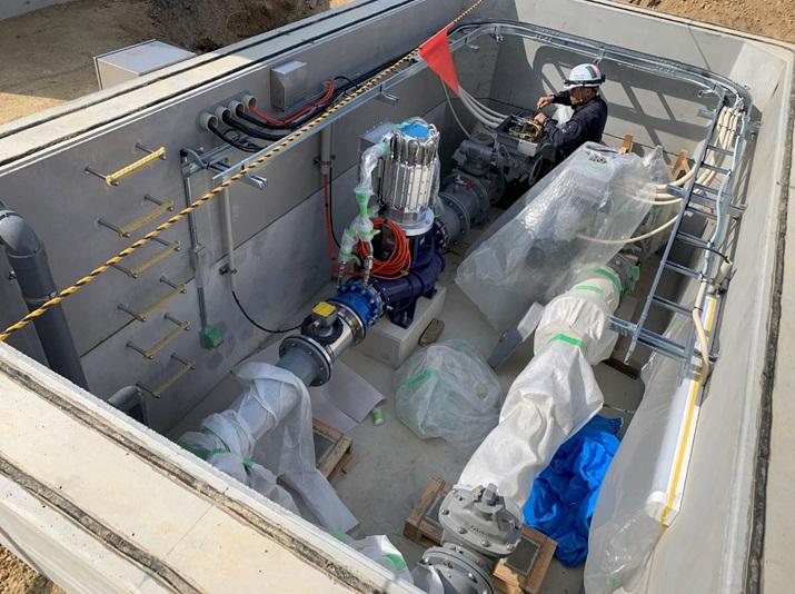豊田市高岡配水場マイクロ水力発電所のその他機器設置