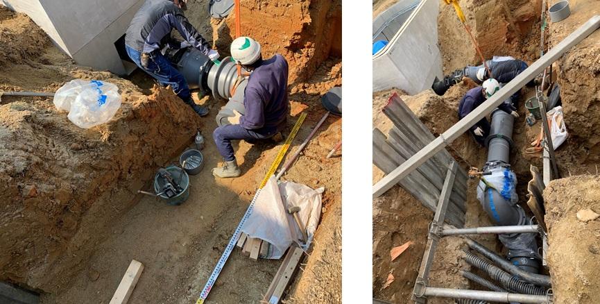 豊田市高岡配水場マイクロ水力発電所のバイパス管接続