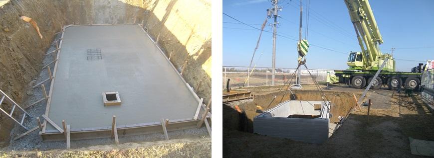 豊田市高岡配水場マイクロ水力発電所の地下ピット建設中