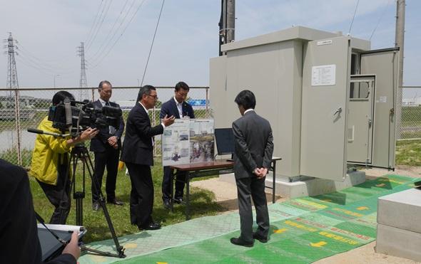 豊田市高岡配水場マイクロ水力発電所 撮影のようす