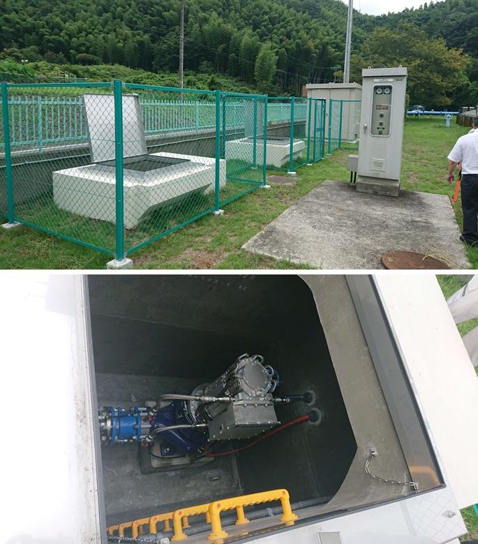 西奈配水場マイクロ水力発電のようす