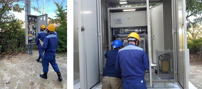 佐井寺配水場マイクロ水力発電所の系統連系立会