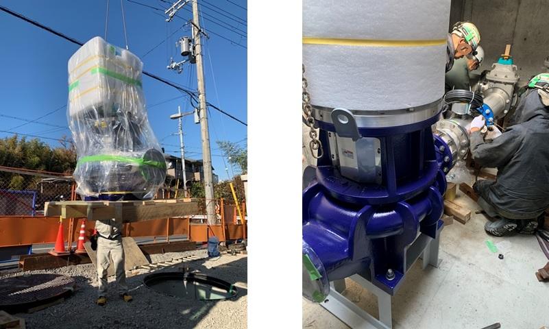 マイクロ水力発電機の搬入設置