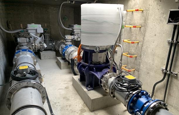 上原減圧槽マイクロ水力発電所のピット内