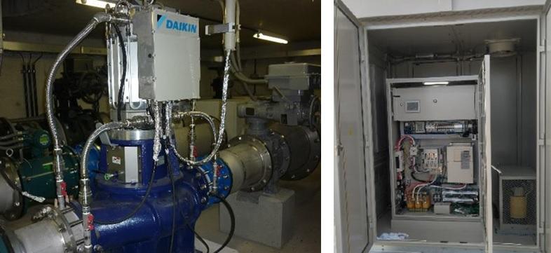 淡路調整池マイクロ水力発電所のようす