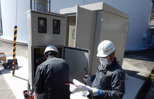 淡路調整池マイクロ水力発電所の年次点検