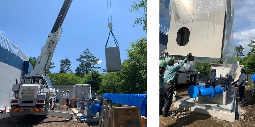 追分調整池マイクロ水力発電所での収納箱設置