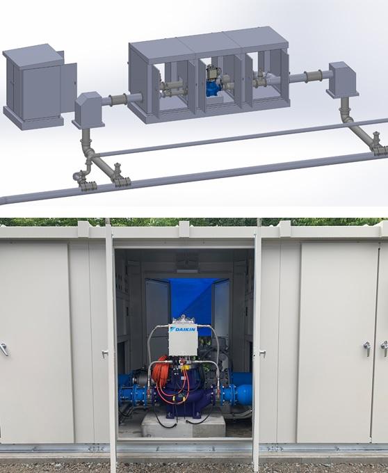 追分調整池マイクロ水力発電所の発電機室