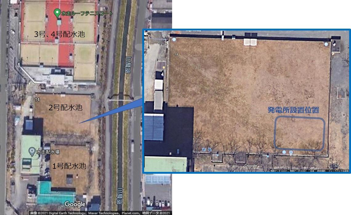 東大阪市水走配水場マイクロ水力発電所の設置位置
