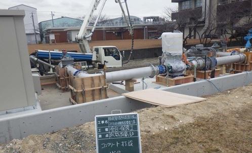 水走配水場マイクロ水力発電所 防護コンクリート打設