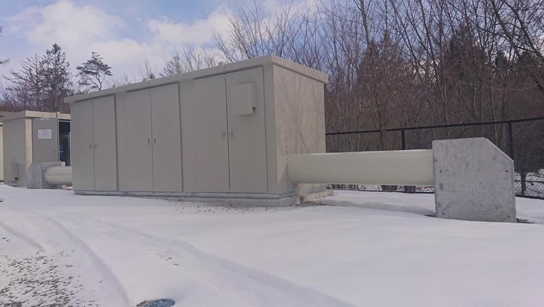 浅麓水道企業団追分調整池マイクロ水力発電所の冬