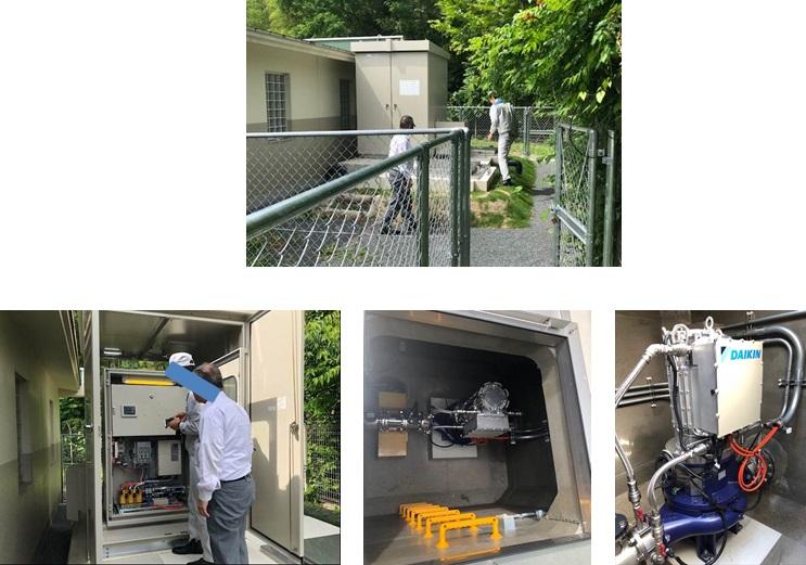 地震後の点検 長岡京市北ポンプ場マイクロ水力発電所
