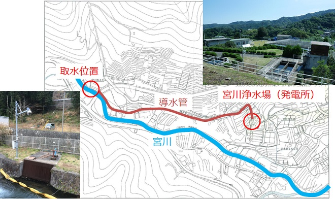 熱海市宮川浄水場マイクロ水力発電所のロケーション