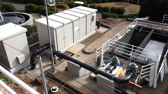 宮川浄水場マイクロ水力発電ー収納ボックス据付後2