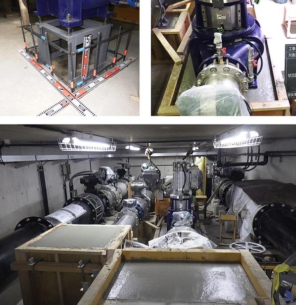 淡路調整池マイクロ水力発電所でのコンクリート工事