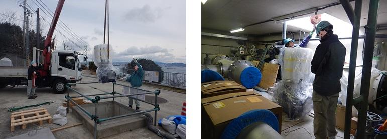 淡路調整槽の発電機搬入