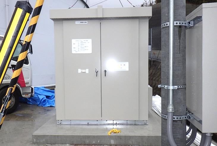 淡路調整池マイクロ水力発電所のシステム制御盤取付完了
