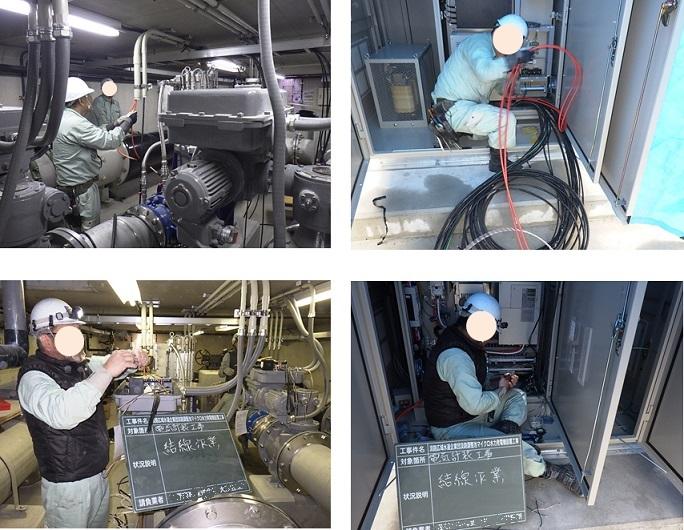 淡路調整池マイクロ水力発電所の機器結線作業