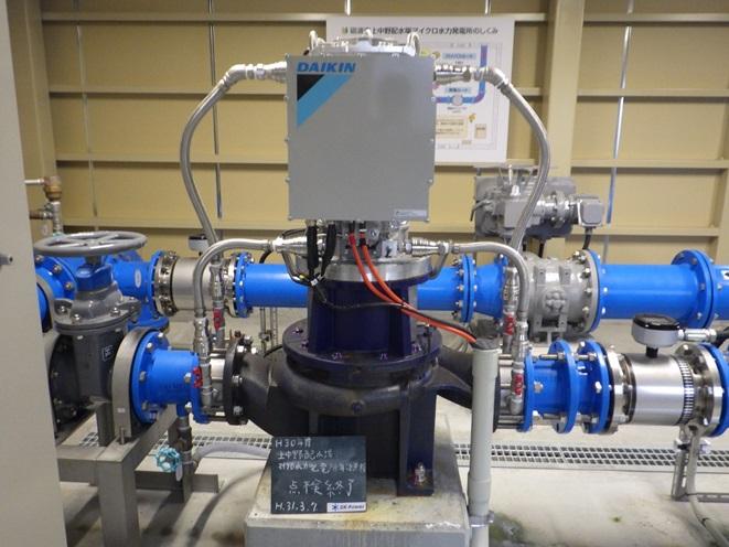 砺波市上中野配水場マイクロ水力発電機