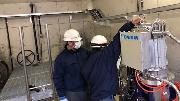 神戸市藤原配水場マイクロ水力発電所点検2