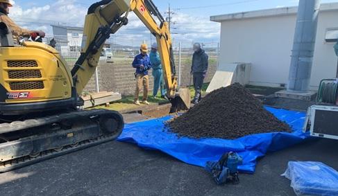 丹羽広域事務組合・河北配水場マイクロ水力発電所の試掘のようす