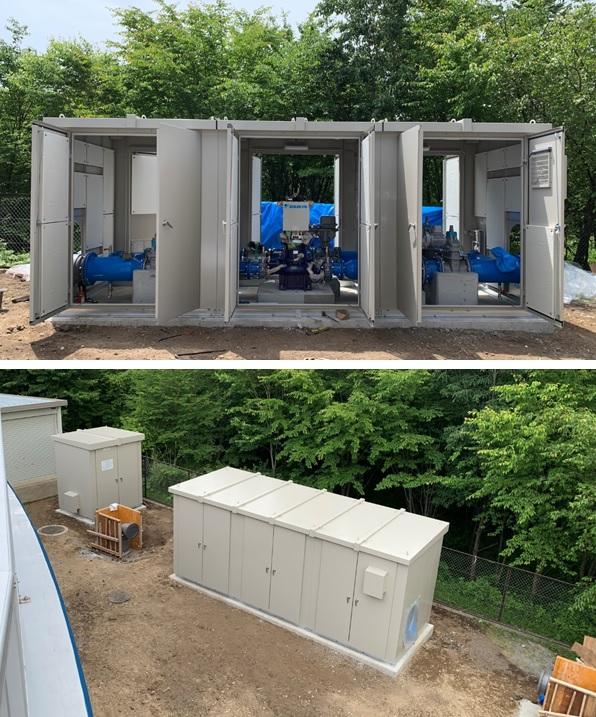 追分調整池マイクロ水力発電所での収納箱設置2