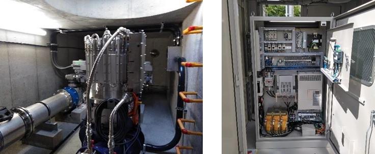 富田林市上原減圧水槽マイクロ水力発電所のようす