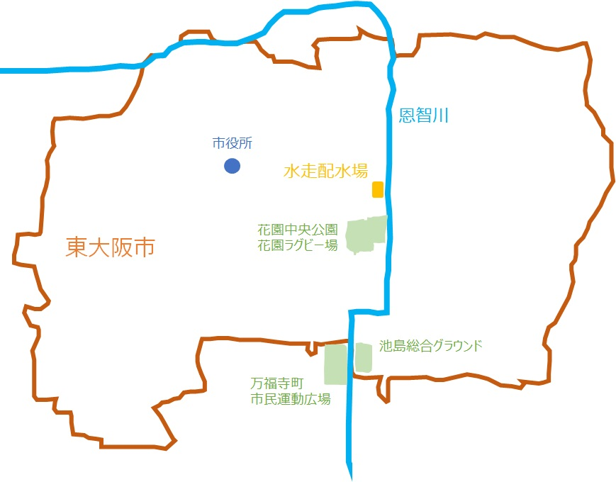恩知川と治水施設