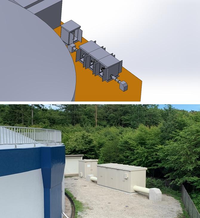 追分調整池マイクロ水力発電所の設置状況