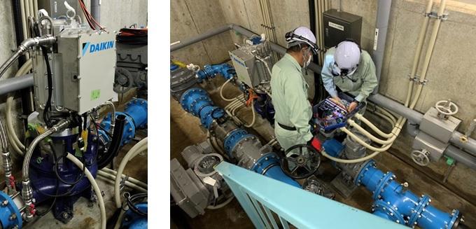 寺山浄水場マイクロ水力発電所の調整のようす