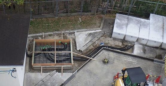 長岡京市東配水池マイクロ水力発電所工事のようす