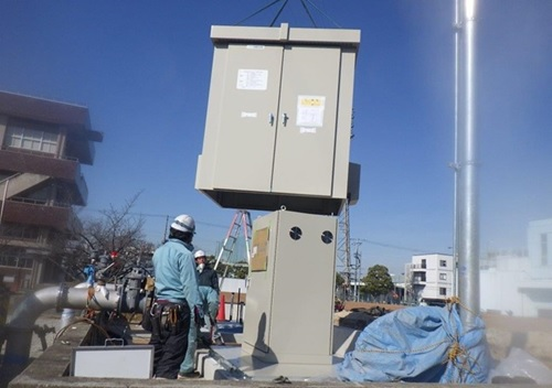 水走配水場マイクロ水力発電所 システム制御盤据付
