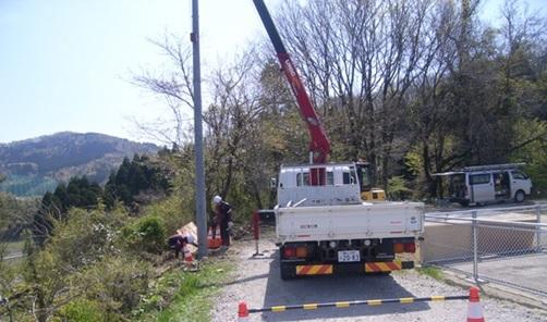 上田子配水池マイクロ水力発電所 系統連系用の建柱