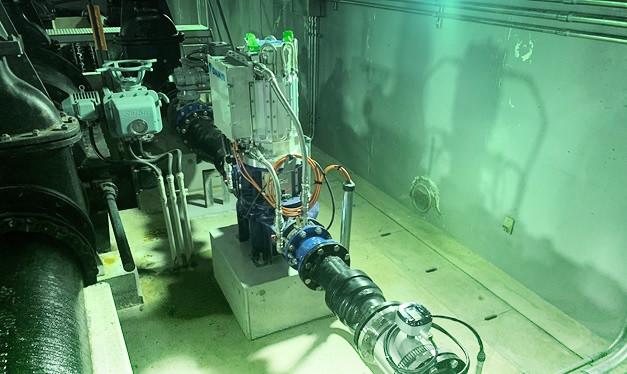 金剛東配水池マイクロ水力発電所のマイクロ水力発電機