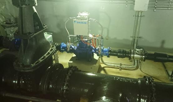 金剛東配水池マイクロ水力発電所の発電機