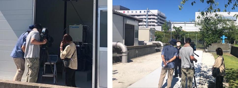 東大阪市水走配水場マイクロ水力所 撮影のようす