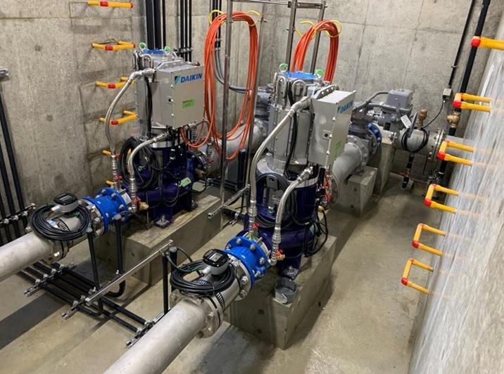 豊中市野畑配水場マイクロ水力発電所の地下ピット内