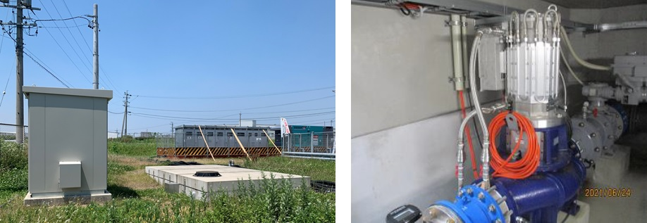 豊田市高岡配水場マイクロ水力発電所のようす