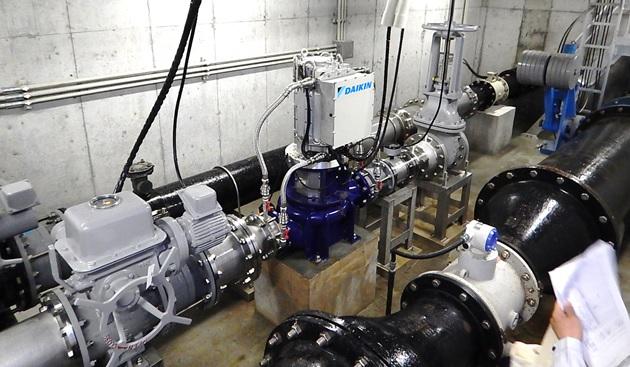 柳井第一配水池マイクロ水力発電所のようす 発電システム1